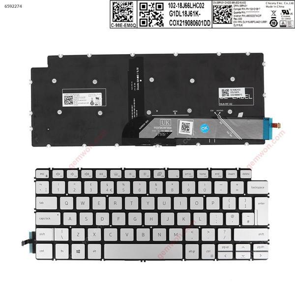 Dell  Inspiron 14-7490  13 5390 5391 7391  7491 5493 5498  SILVER ( without FRAME , Backlit , win8  ) UK DLM18J66F0J4421/J6981 SOE-NCB1876 Laptop Keyboard (OEM-A)