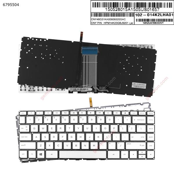 HP ENVY 14-J SILVER (Without FRAME,Backlit, With Foil )  US n/a Laptop Keyboard (OEM-A)
