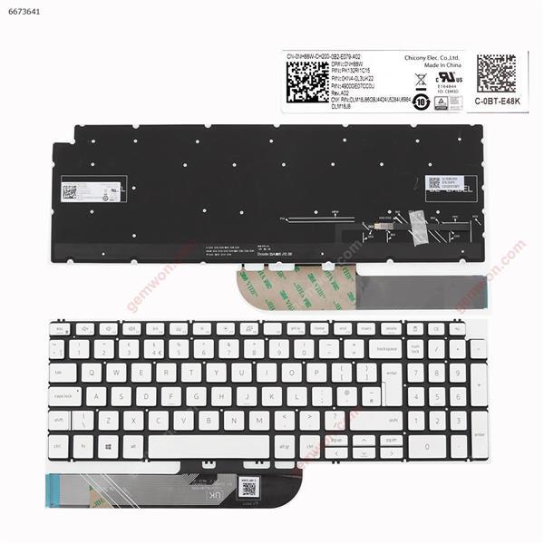 Dell  Inspiron  15 7590 5584 5590 5593 5594 5598   SILVER    ( without FRAME , Backlit , win8  ) UK 0NH88W PK132RI1C15 OKN4-0L3UK22 Laptop Keyboard (Original)
