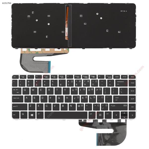 HP 840 G3 SILVER FRAME BLACK(Backlit Win8) US N/A Laptop Keyboard (OEM-A)