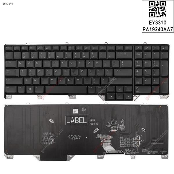 Dell  alw17 17 R5 M15 M17 R2  ALWA51M A51M P38E   2019  BLACK (Without FRAME, Full Colorful Backlit ,WIN8) US EYABC 6K+VFYOM.1A1 Laptop Keyboard (OEM-A)
