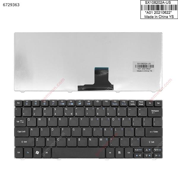 Acer Aspire One 751 ZA3 721 1810T 1830T BLACK  ( without FRAME , win8 ) US SX108202A-US SX-1082 Laptop Keyboard (OEM-A)