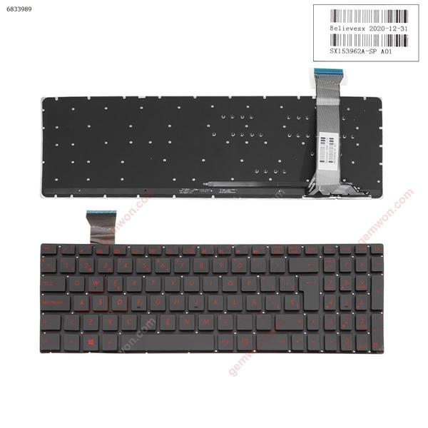 ASUS GL552 GL552J GL552JX GL552V GL552VL GL552VW BLACK(Backlit,Without FRAME,Red Printing) WIN8  SP n/a Laptop Keyboard (OEM-A)