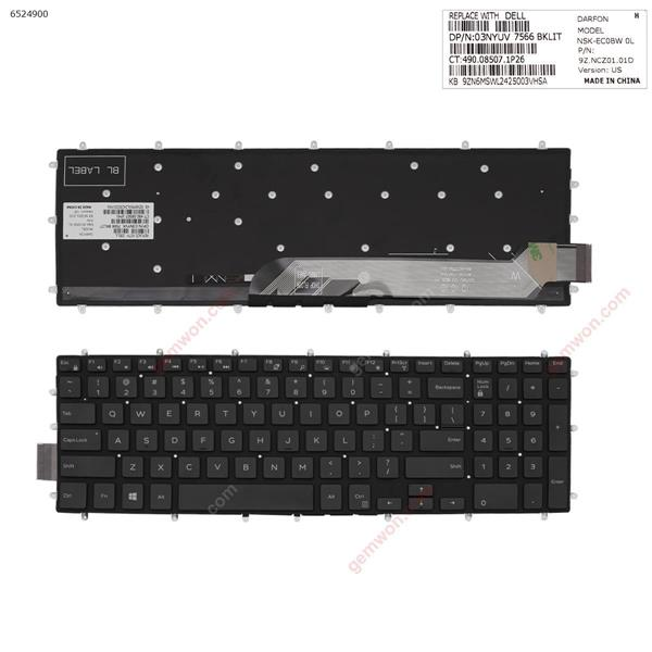Dell DELL Inspiron Gaming 15-7566  GLOSSY BLACK (Without FRAME ,Backlit,Win8) US 9Z.NCZ01.01D NSK-EC0BW 03NYUS Laptop Keyboard (OEM-A)