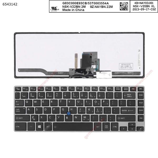 TOSHIBA   Tecra z40-a z40-b  GRAY  FRAME BLACK (Backlit,With Point stick,WIN8)(Dismantle the machine) US NSK-V22BN 2M 9Z.NAYBN.22M Laptop Keyboard (OEM-B)