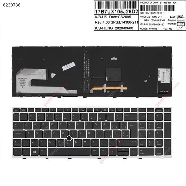 HP Elitebook 850 G5 755 G5 ZBook 15u G5 SILVER FRAME BLACK Backlit (with point,Win8) UI CWN392FS BY-8400 HF 002L17B76LHD02 L11999-271 HPM17B76R0J9301 6037B0136138 Laptop Keyboard (OEM-A)