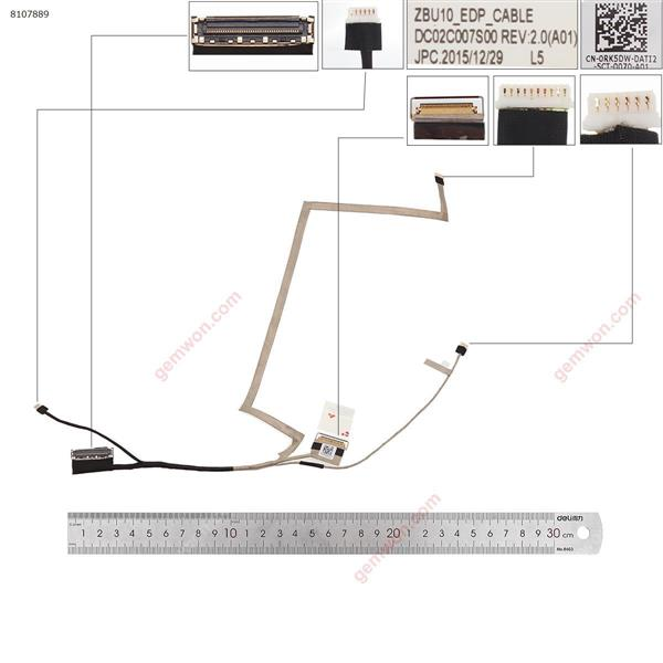 Dell Latitude E7450 E7440 ,Without touch LCD/LED Cable DC02C007S00 0RK5DW