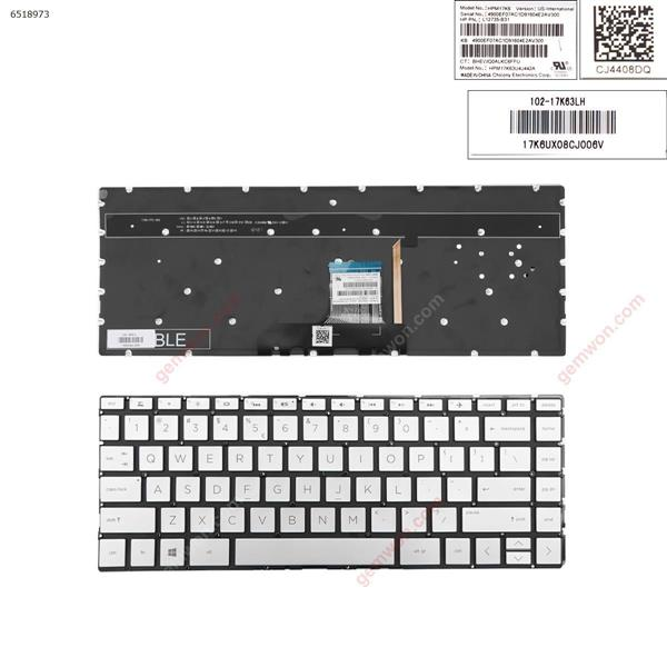 HP Pavilion 13-an0000 13-an0000ns SILVER (Backlit , Without Frame ,Win 8 ) US L12733-B31 Laptop Keyboard (OEM-A)