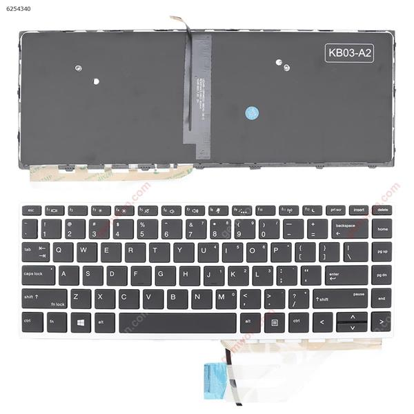 HP Probook 430 G5 440 G5 445 G5 Silver FRAME BLACK (Backlit, With cable folded,WIN8) US 6037B0134301 Laptop Keyboard ( )
