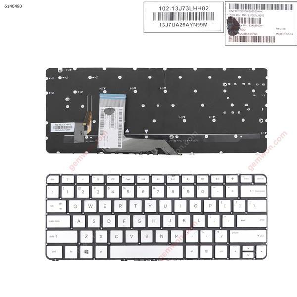 HP Spectre x360 13-4000 13-4100 13-4200 SILVER (Without FRAME ,Backlit,WIN8) US MP-13J73CHJ9202 Laptop Keyboard (A+)
