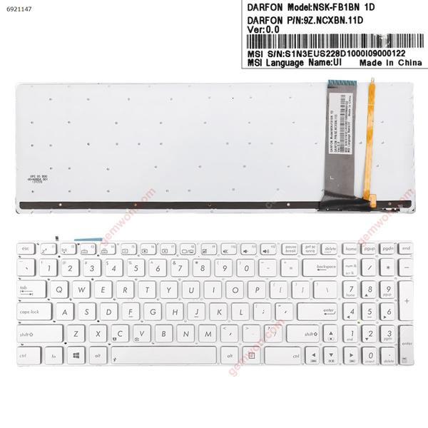 ASUS N56 N550 N56V U500VZ N76 N76VM N76VJ SILVER( Backlit,Win8) OEM US N/A Laptop Keyboard (OEM-A)
