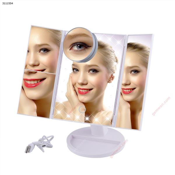LED Touch Screen 22 Light Makeup Mirror Table Desktop Makeup 1X/2X/3X/10X Magnifying Mirrors Vanity 3 Folding Adjustable Mirror-White Measuring & Testing Tools MF22