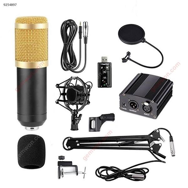 BM-800 Condenser Microphone Kit with Adjustable Arm, Metal Shock Mount and Double-layer Pop Filter for Studio Recording Mobile Phone Mounts & Stands A