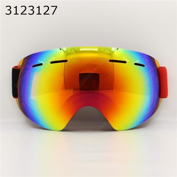Frameless snowboard snowmobile professional ski goggles anti-fog UV double lens (red) Ski  skating equipment WD-H018