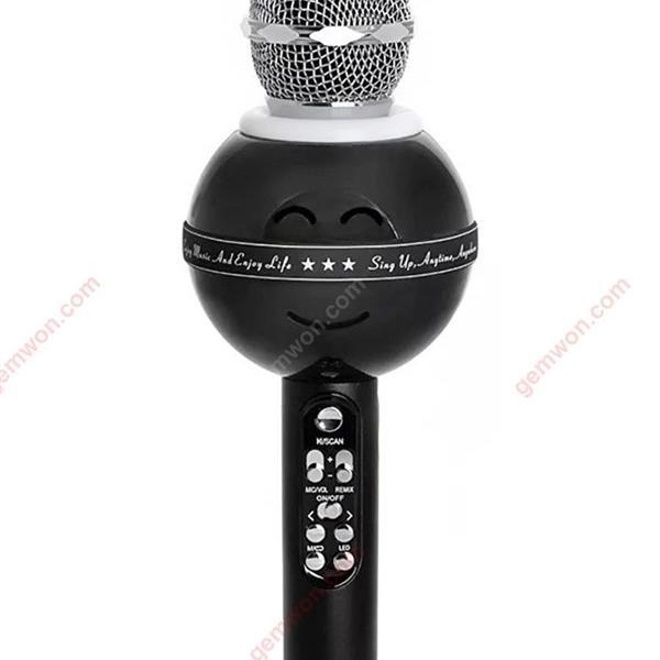 Handheld Bluetooth Wireless Karaoke Microphone Phone Player MIC Speaker Record Music KTV Microphone black microphone WS878