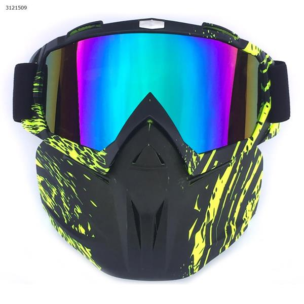 Motocross face mask goggles racing goggles outdoor riding glasses ski goggles(Black and green frame multicolored lenses) Ski  skating equipment BF658