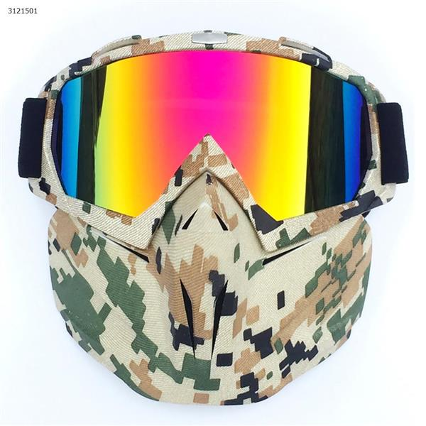 Motocross face mask goggles racing goggles outdoor riding glasses ski goggles(Camouflage frame imitation red lens) Ski  skating equipment BF658