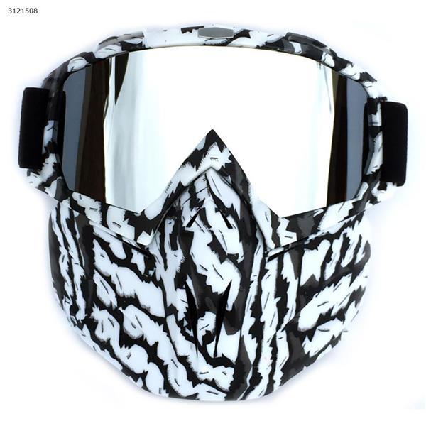Motocross face mask goggles racing goggles outdoor riding glasses ski goggles(Zebra frame mercury lens) Ski  skating equipment BF658