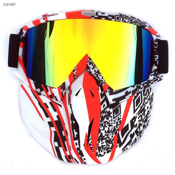 Motocross face mask goggles racing goggles outdoor riding glasses ski goggles(Two-dimensional code frame imitation red lens) Ski  skating equipment BF658