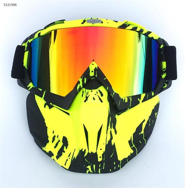Motocross face mask goggles racing goggles outdoor riding glasses ski goggles(Fluorescent green frame imitation red lens) Ski  skating equipment BF658