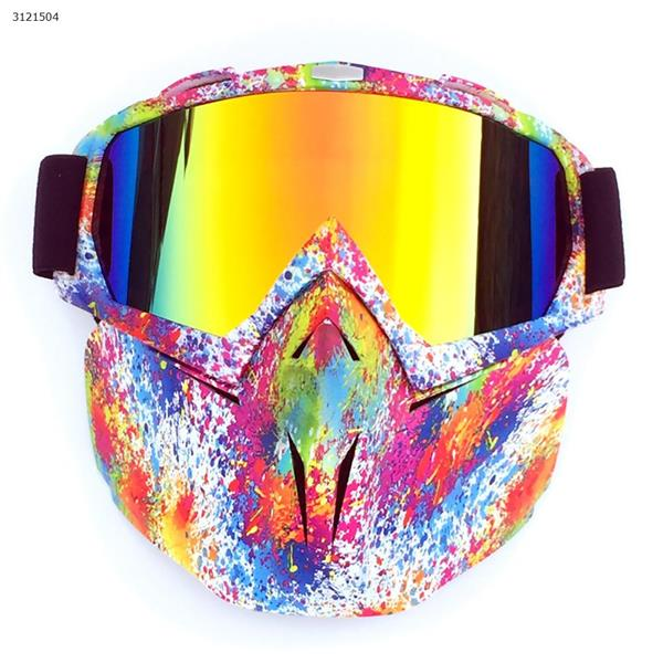 Motocross face mask goggles racing goggles outdoor riding glasses ski goggles(Small flower frame imitation red lens) Ski  skating equipment BF658