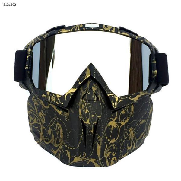 Motocross face mask goggles racing goggles outdoor riding glasses ski goggles(Copper flower frame mercury lens) Ski  skating equipment BF658