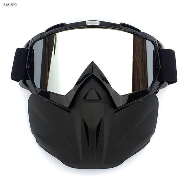 Motocross face mask goggles racing goggles outdoor riding glasses ski goggles(Bright black frame mercury lens) Ski  skating equipment BF658