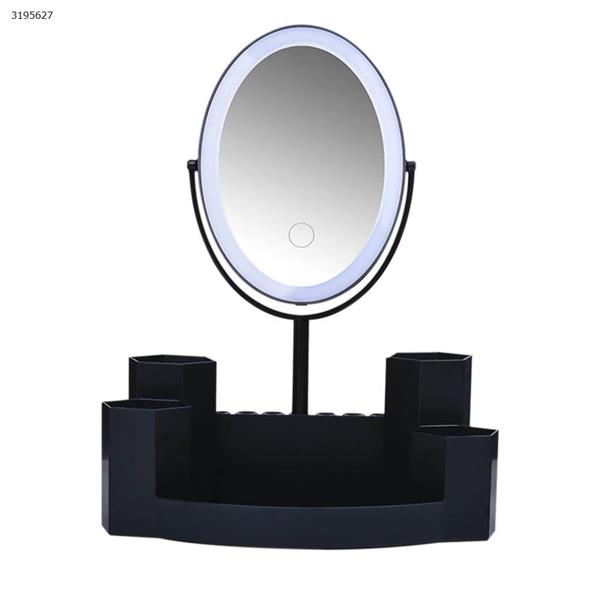 T5 Round LED Dual Side Makeup Mirror Magnifier Nightlight Lamp &  Storage Box (Three kinds of color Black) Measuring & Testing Tools T5