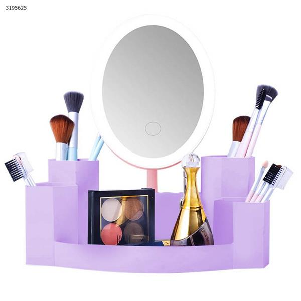 T5 Round LED Dual Side Makeup Mirror Magnifier Nightlight Lamp &  Storage Box monochromator pink Measuring & Testing Tools T5