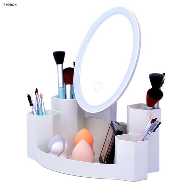 T5 Round LED Dual Side Makeup Mirror Magnifier Nightlight Lamp &  Storage Box monochromator White Measuring & Testing Tools T5
