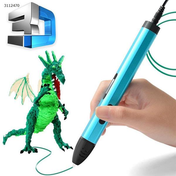 3D printing pen, high and low temperature adjustable 5 generation with base,blue 3D Printing Pen 3D printing pen