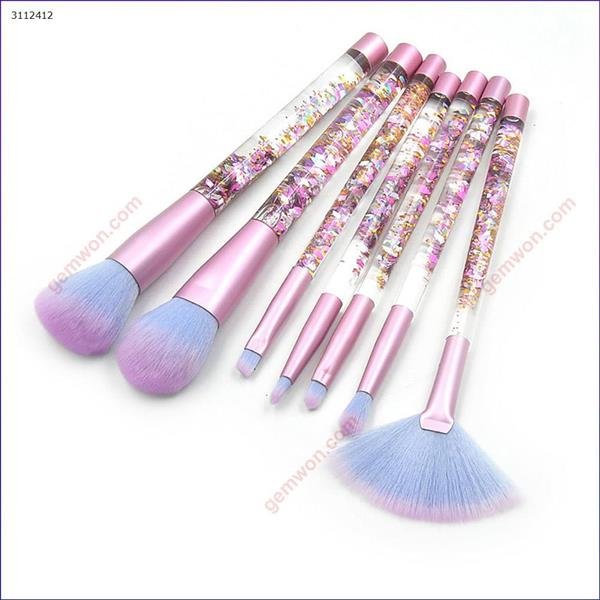 7 transparent handle makeup brushes, make-up tools, red Fragment flow handle+blue Makeup Brushes & Tools  7 transparent handle makeup brushes