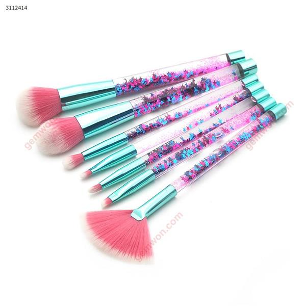 7 transparent handle makeup brushes, make-up tools,  Fragment flow handle+blue green Makeup Brushes & Tools  7 transparent handle makeup brushes