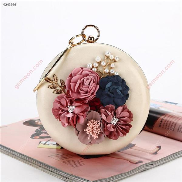 Flower Dinner Bag Round Evening Bag with Handcuffs Party Banquet Dress Bag(Apricot) Musical Instruments Dinner