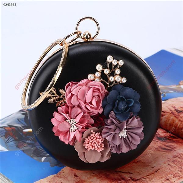 Flower Dinner Bag Round Evening Bag with Handcuffs Party Banquet Dress Bag (Black) Musical Instruments DINNER