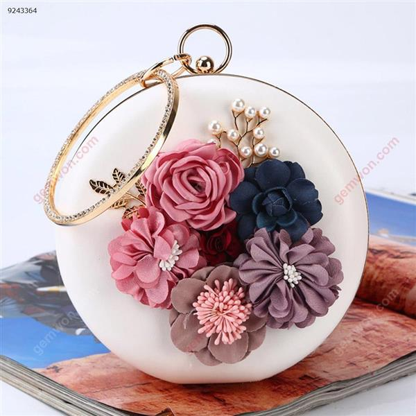 Flower Dinner Bag Round Evening Bag with Handcuffs Party Banquet Dress Bag (White) Musical Instruments Dinner
