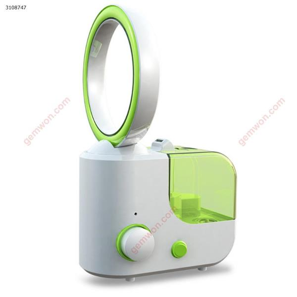 110V-250V Household bladeless fan with air humidifier Electric Dual-use Ultrasonic Mist Maker Fogger Aroma Diffuser No Leaf Fan green Iron art XY-001