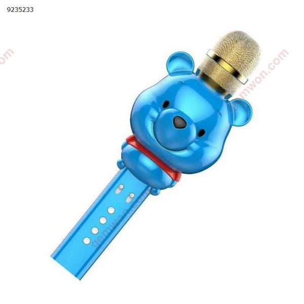 2018 new U70 cute bear mini microphone cartoon children's handheld multi-function wireless Bluetooth karaoke microphone blue microphone U70