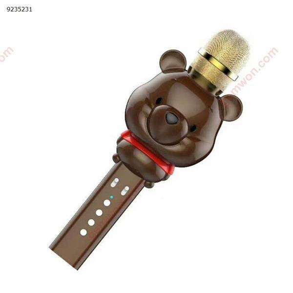 2018 new U70 cute bear mini microphone cartoon children's handheld multi-function wireless Bluetooth karaoke microphone brown microphone U70