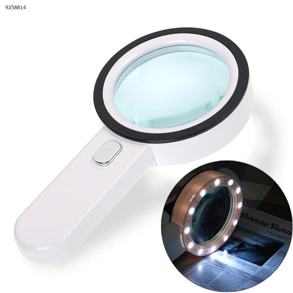 30X Magnifier illuminated magnifier lamp magnifying loupe with 12 LED lights handheld LED magnifier jewelry loupe reading Repair Tools FDJ-01
