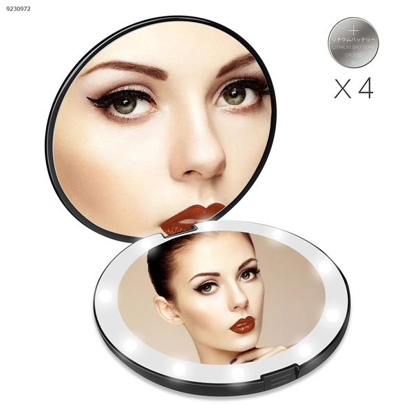 LED Lighted Travel Makeup Mirror, Aixiangpai 1X/10X Double Sided LED Lighted Magnifying Mirror BLACK Big (12.6cm*2.2cm)  RM175-DL