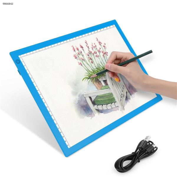 A4 copy table LED drawing Linyi calligraphy light anime comics one without trace board(Stepless dimming Blue) Home Decoration JSK-A4-20