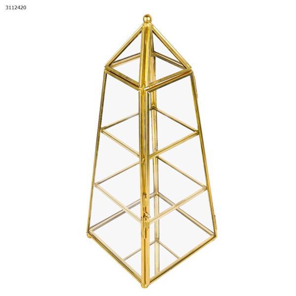 Pyramid jewelry glass storage box,100MM*100MM*260MM Home Decoration yj-007