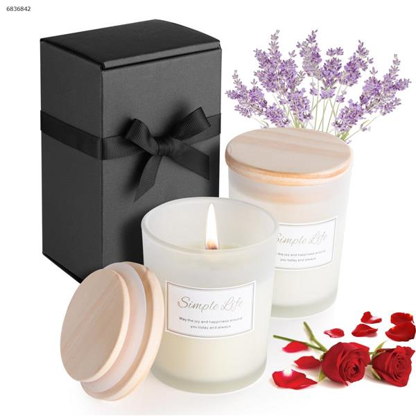 A box of two smokeless aromatherapy candles with lid to help sleep(Rose + Lavender) Home Decoration N/A