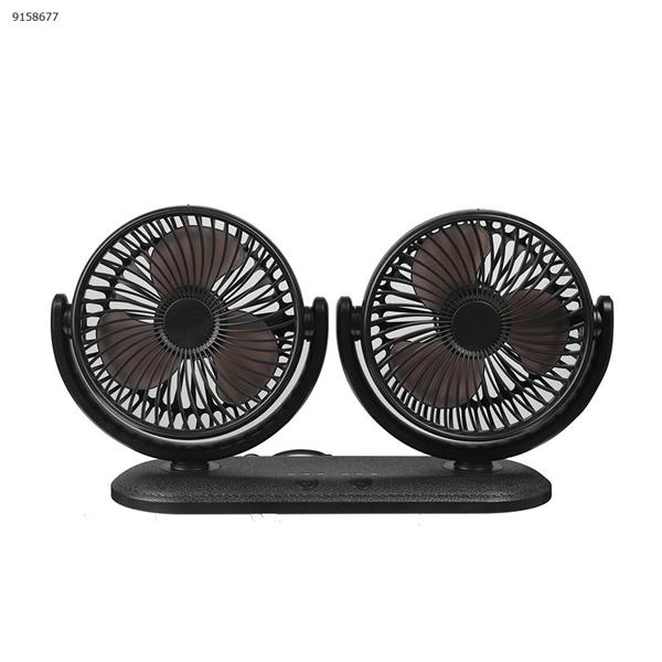 Car fan 12V/24V large truck universal multi-function USB double head can shake the head three wind power fan (black) Other DC201