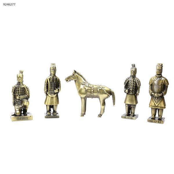 Xi'an Terracotta Warriors and Horses - Copper Alloy Qin Terracotta Warriors and Five Sets - Xi'an Tourist Souvenirs (Bronze) Other LY25