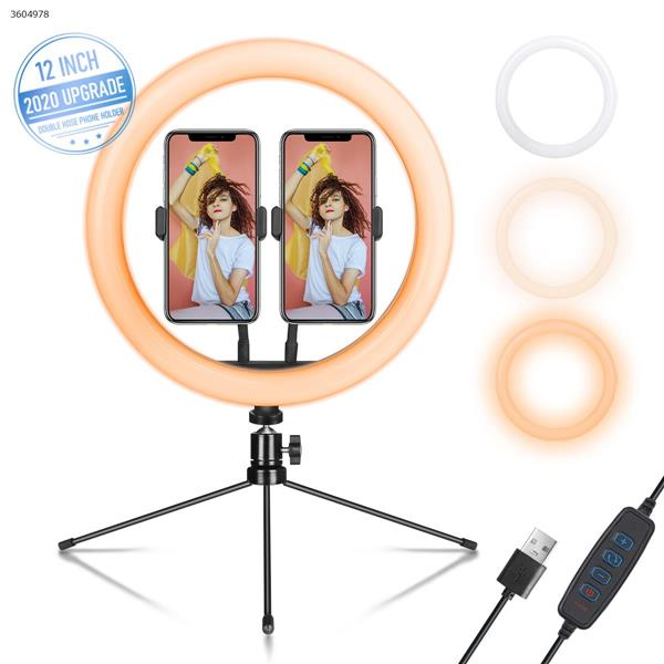 12 inch double stand light compensating Lamp + pan tilt + 2 hose mobile clips + iron tripod(9.45 inch) LED Ring Light KL212-D7A