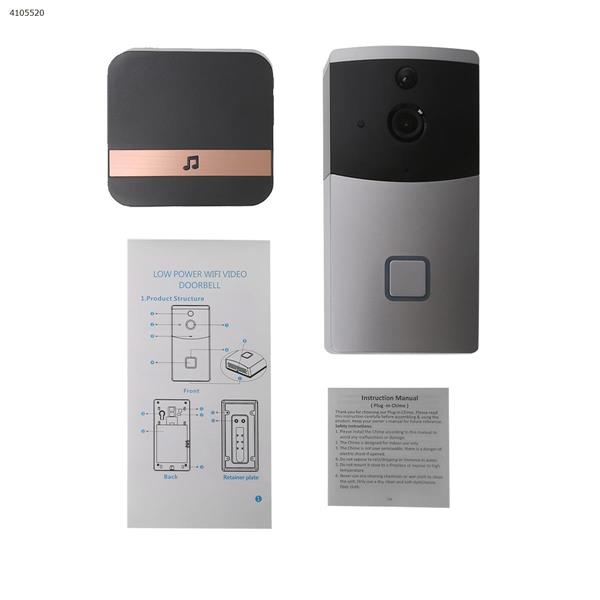 Smart WIFI Video Doorbell Wireless Remote Home Surveillance Video Voice(silver-US) Other M4