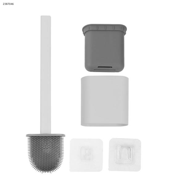 Bathroom wall-mounted soft rubber long handle to dead ends soft hair toilet brush (white) Home Decoration N/A