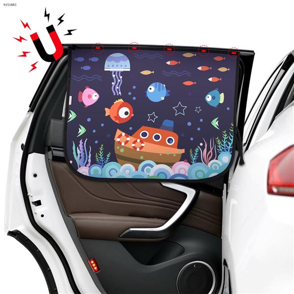Magnetic car sunscreen and heat insulation double cartoon pattern sunshade (underwater world) Autocar Decorations N/A